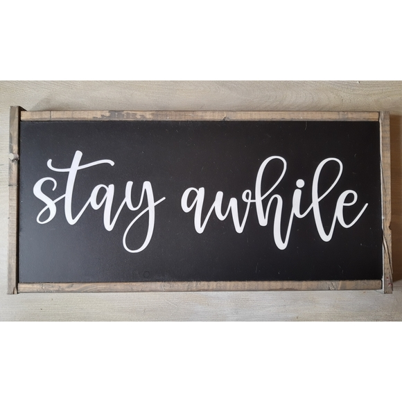 Large Living Room Stay Awhile Hanging Wood Sign